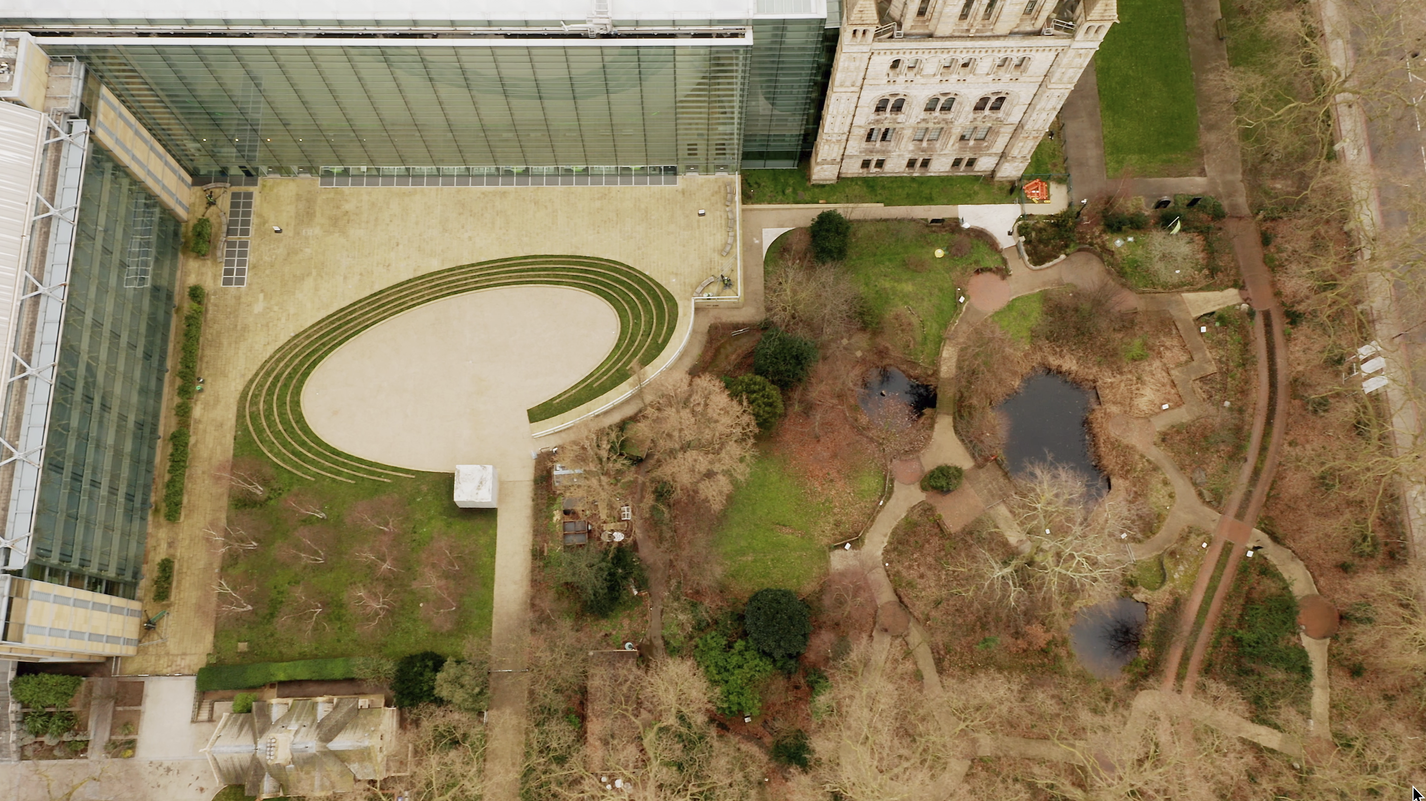 Ariel view of Natural History Museum gardens before redevelopment for Urban Nature Project