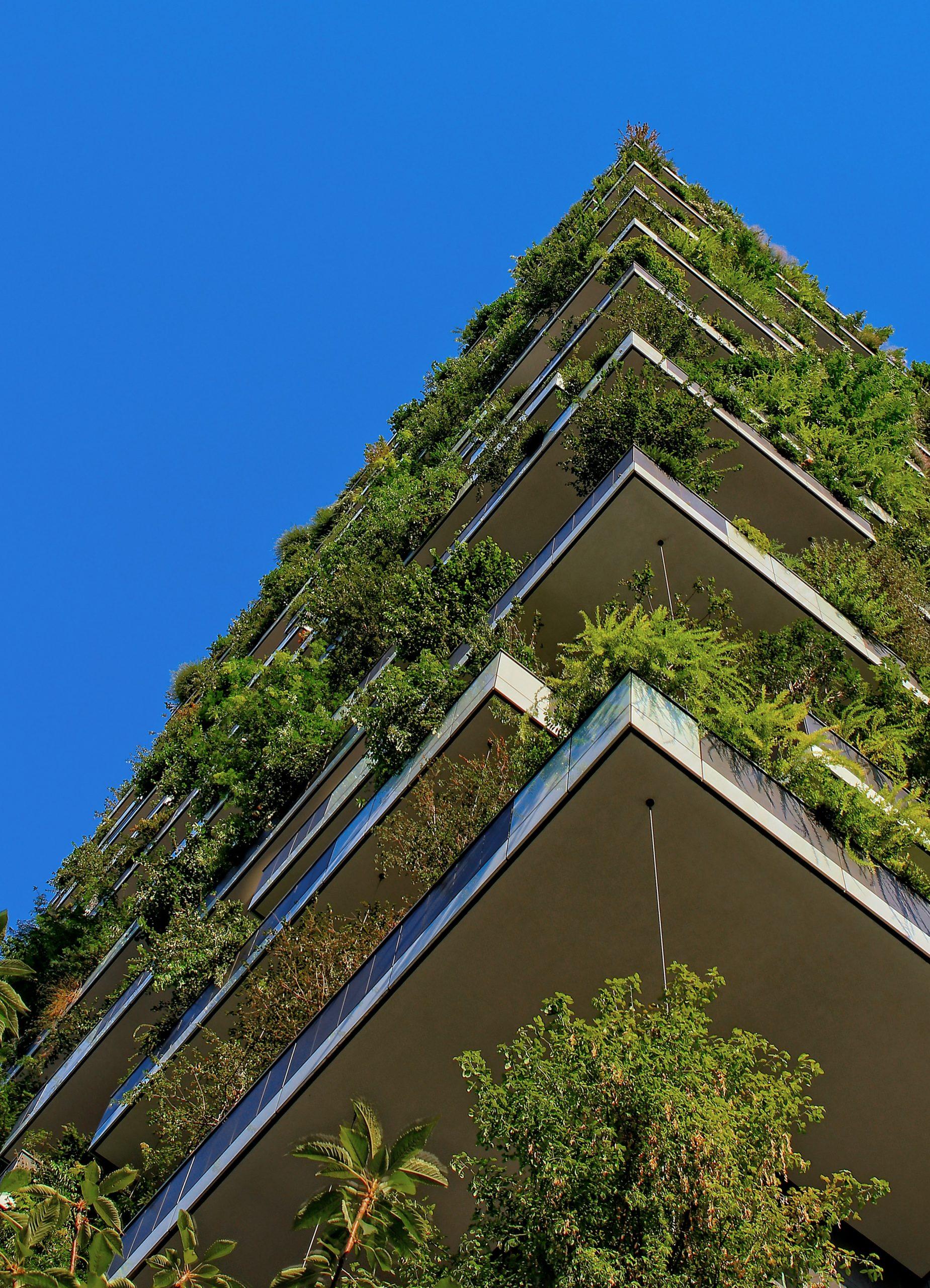 Green balconies against blue sky